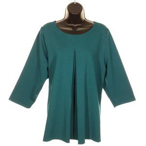 LANDS' END 3/4 Sleeve Top Teal Blouse Plus Size